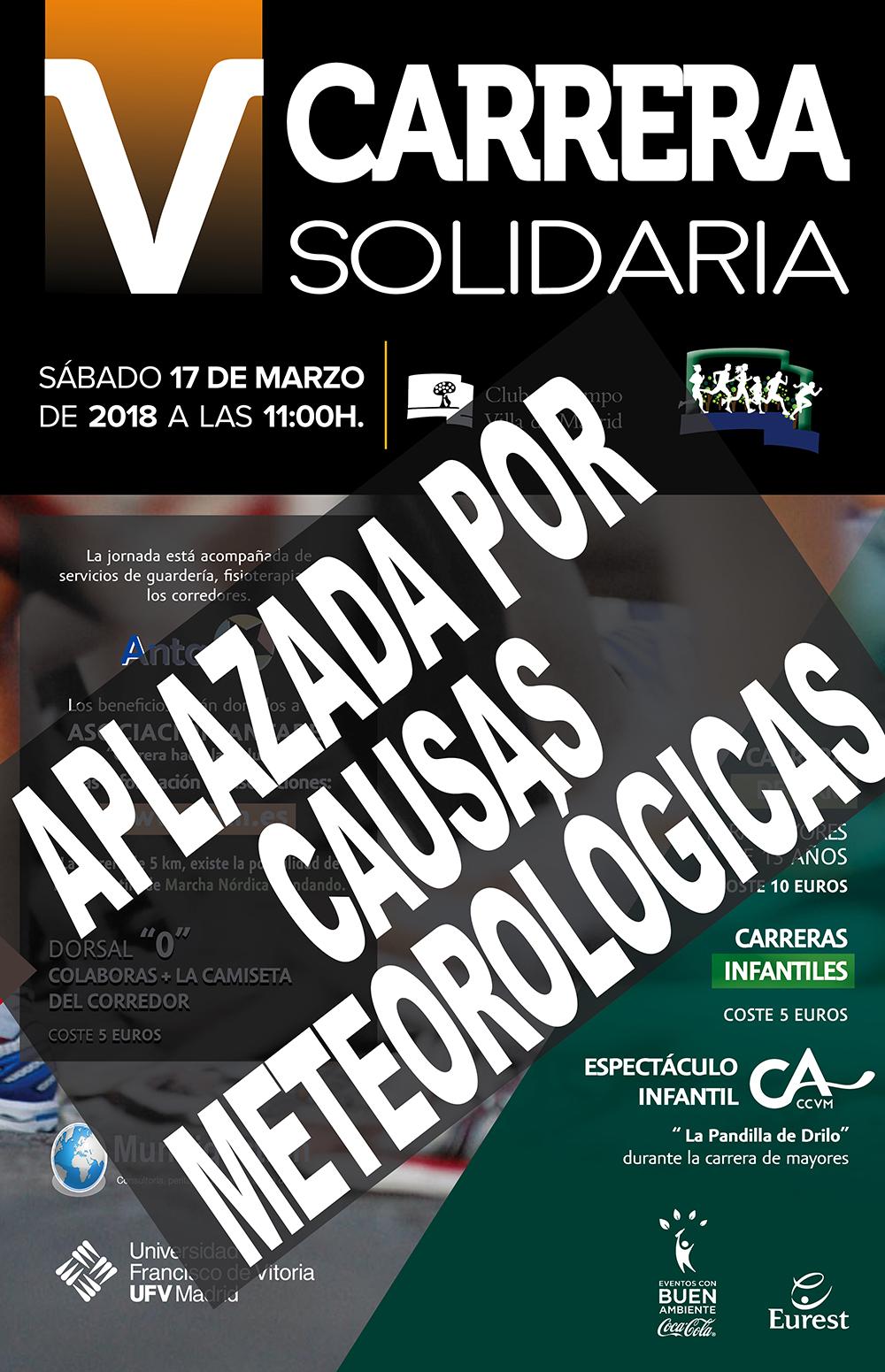Cartel de la Carrera Solidaria 2018 aplazada