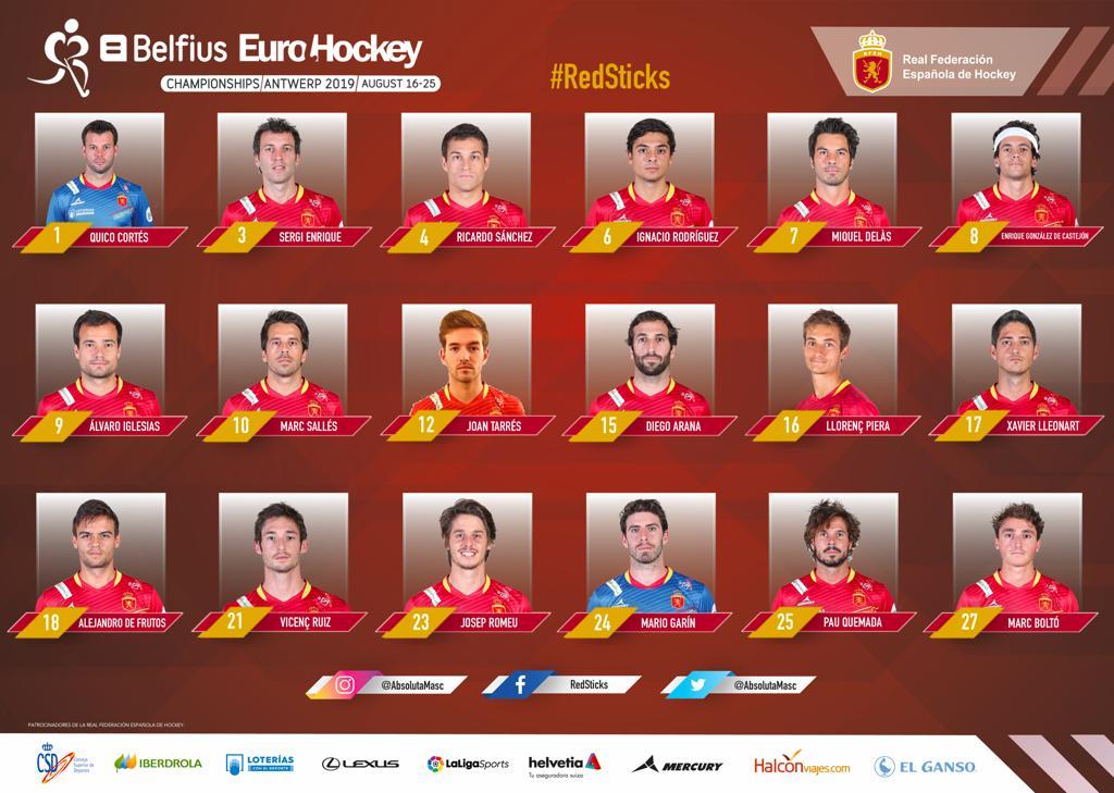 Los 18 jugadores convocados para el Europeo de Amberes 2019 de hockey hierba masculino.