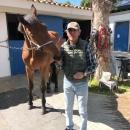 El abonado Alejandro Jordá, con un caballo en las cuadras del Club.
