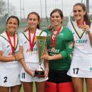 Rocío Gutiérrez, Begoña García, Ana Pueche y Lucía Abajo con sus medallas de oro