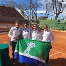 Alejandra Vilariño, María José Serrano, Chus Lara y Ruth Chinarro tras recoger el trofeo de subcampeón